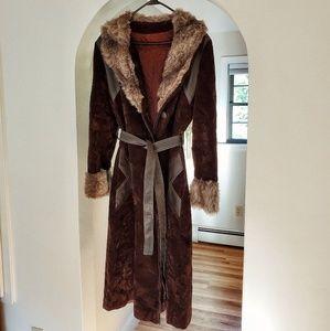 Jackets & Blazers - Genuine Suede & Plush Fur Long Coat